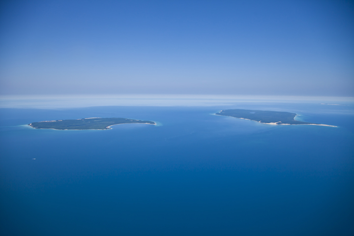 Aerial photo of North Manitou and South Manitou Islands